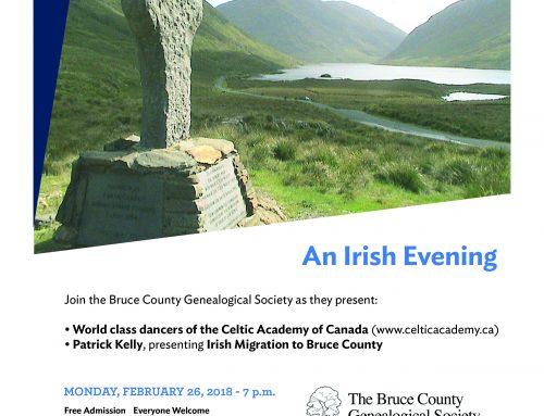 An Irish Evening, Migration Bruce County